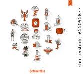 oktoberfest beer festival. long ... | Shutterstock .eps vector #655095877