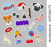 funny dogs doodle with puppy... | Shutterstock .eps vector #655106173