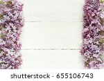 bouquet of lilac flowers on... | Shutterstock . vector #655106743
