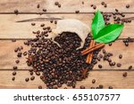 roasted coffee beans  | Shutterstock . vector #655107577