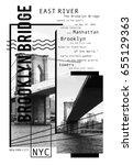 photo print brooklyn bridge  ... | Shutterstock . vector #655129363