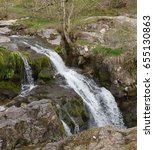 Small photo of High Force Waterfall on Aira Beck in Ancient Woodland by Ullswater within The Lake District National Park in Rural Cumbria, England, UK