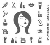 cosmetics and beauty icons. set ... | Shutterstock .eps vector #655135273