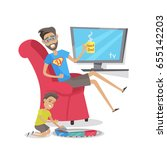 my dad is superhero vector... | Shutterstock .eps vector #655142203