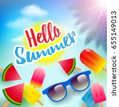 vector summer time holiday... | Shutterstock .eps vector #655149013