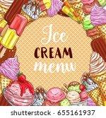 ice cream menu sketch poster on ... | Shutterstock .eps vector #655161937