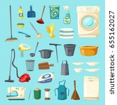 household item and cleaning... | Shutterstock .eps vector #655162027