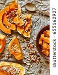 pumpkin chopped and pumpkin...   Shutterstock . vector #655162927