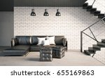mock up wall in interior with... | Shutterstock . vector #655169863
