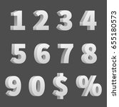 3d numbers and symbols. three... | Shutterstock . vector #655180573