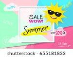 vector banner template. summer... | Shutterstock .eps vector #655181833