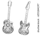 acoustic and electric guitars... | Shutterstock .eps vector #655184197