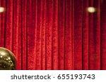 Red Velvet Textured Curtain.