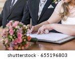 marriage elegant bride signing...   Shutterstock . vector #655196803