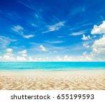 beach and beautiful tropical... | Shutterstock . vector #655199593