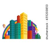 cityscape with colorful... | Shutterstock .eps vector #655203853
