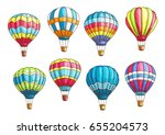 hot air balloons vector... | Shutterstock .eps vector #655204573