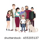 big family portrait. happy... | Shutterstock . vector #655205137