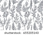 seamless pattern with hand... | Shutterstock .eps vector #655205143