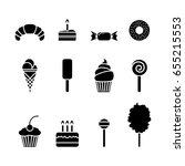 dessert icon set. isolated... | Shutterstock .eps vector #655215553