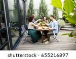 cheerful young people have... | Shutterstock . vector #655216897