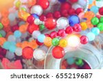 colorful beads for handmade... | Shutterstock . vector #655219687