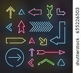 set of neon arrows  vector... | Shutterstock .eps vector #655226503
