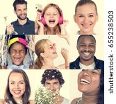 collage of people smiling... | Shutterstock . vector #655238503
