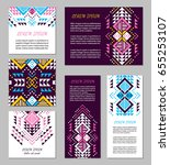 aztec style colorful flyer set. ... | Shutterstock .eps vector #655253107