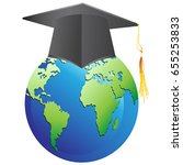 graduation cap on earth | Shutterstock .eps vector #655253833