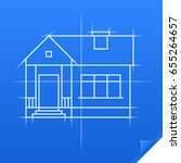 drawing of a house on blue... | Shutterstock .eps vector #655264657