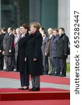 Small photo of FEBRUARY 12, 2016 - BERLIN, GERMANY: German Chancellor Angela Merkel and Polish Prime Minister Beata Szydlo at a reception with military honours in the Federal Chanclery.