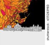 monaco  skyline map  modern... | Shutterstock .eps vector #655283983