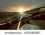 motorbike on a country road at... | Shutterstock . vector #655285087