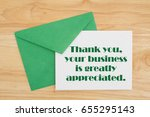 thank you message  an embossed... | Shutterstock . vector #655295143