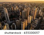 Stock photo sunset over sao paulo city brazil 655330057