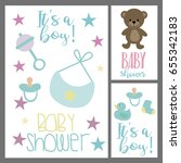 set of baby shower invitation... | Shutterstock .eps vector #655342183