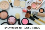 cosmetics set lay on white... | Shutterstock . vector #655345807