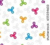 colorful hand spinner seamless... | Shutterstock .eps vector #655354603