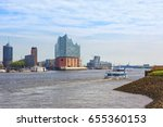 hamburg  tourist boats on elbe ... | Shutterstock . vector #655360153