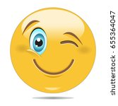 smiley face with winking eye...   Shutterstock .eps vector #655364047