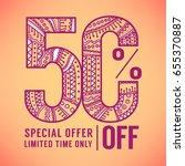 50 percent off ornamental... | Shutterstock .eps vector #655370887