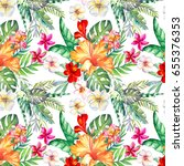 watercolor flowers pattern | Shutterstock . vector #655376353