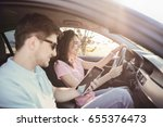 travel. couple is traveling in... | Shutterstock . vector #655376473