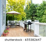 clean outdoor cedar wooden deck ... | Shutterstock . vector #655382647