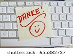 note on computer keyboard ... | Shutterstock . vector #655382737
