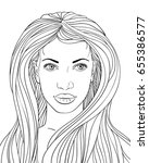 hand drawn face of beautiful... | Shutterstock .eps vector #655386577