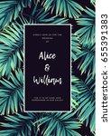 dark tropical wedding design... | Shutterstock .eps vector #655391383