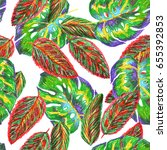 floral pattern repeat tropic... | Shutterstock . vector #655392853