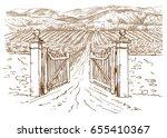 vineyard entrance. hand drawn... | Shutterstock .eps vector #655410367
